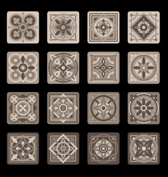 Brown portuguese ceramic mosaic tile floral set vector