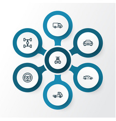 car outline icons set collection of washing vector image vector image