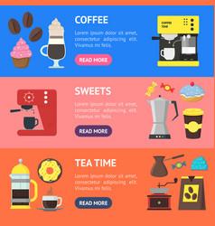cartoon coffee shop banner horizontal set vector image vector image