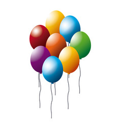 Colored balloons bunch party decoration vector