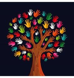 Colorful solidarity tree hands vector
