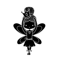 Contour girl dancing ballet with crown and wings vector
