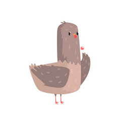 Funny dove standing with chupa chups vector