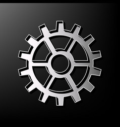 Gear sign gray 3d printed icon on black vector