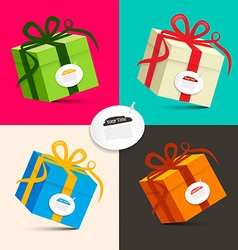 Gift Boxes - Retro Colored Paper Present Box Set vector image vector image