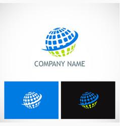 Globe sphere planet technology logo vector