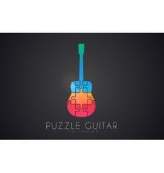 Guitar logo puzzle guitar logo design creative vector