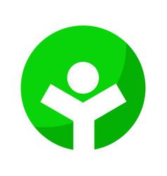 healthy life green circle symbol graphic design vector image