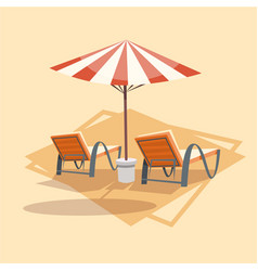 lungers under umbrella icon summer sea vacation vector image vector image