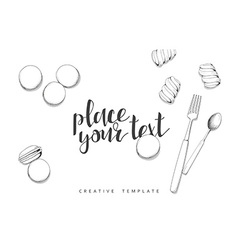 Macaroon and marshmallow in sketch conceptual vector