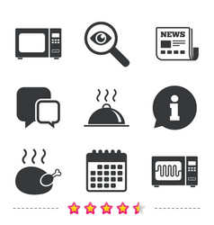 microwave oven icon cooking food serving vector image vector image