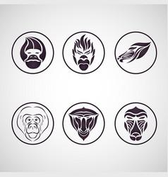 monkey logo icon set vector image vector image