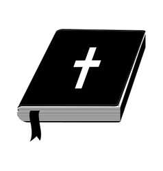 Monochrome silhouette with holy bible with ribbon vector