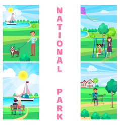 national park in summer with relaxing people vector image vector image