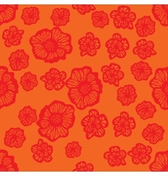Orange and red seamless flower pattern vector