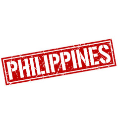 Philippines red square stamp vector