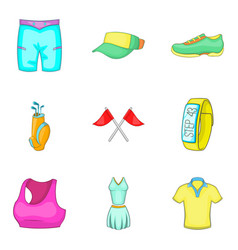 Physical activity icons set cartoon style vector