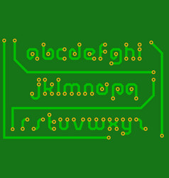 Print circuit board in the form of alphabet letter vector