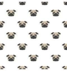 Seamless pattern with pug Dog head flat icon vector image vector image