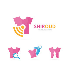 set of cloth logo combination shirt and signal vector image vector image