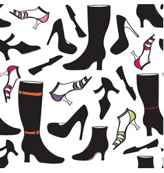 Shoes icon seamless pattern fashion footwear vector
