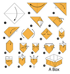 Step instructions how to make origami a box vector