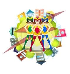Three superheroes and neighborhood background vector image vector image