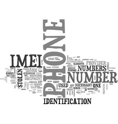 What is imei text word cloud concept vector