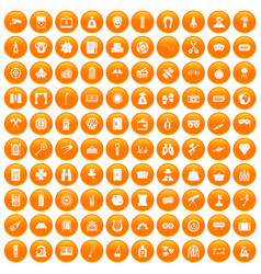 100 adult games icons set orange vector