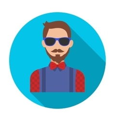 Hipster icon in flat style isolated on white vector image