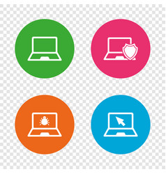 Notebook laptop pc icons virus or software bug vector