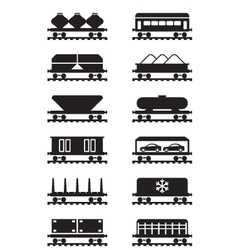 Different types of railway wagons vector