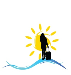 girl with a travel bag with sun and sea vector image