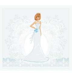 Beautiful bride with flowers card vector