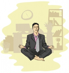 Businessman in lotus pose meditating vector