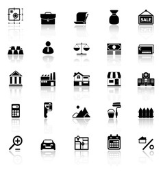 Mortgage and home loan icons with reflect on white vector