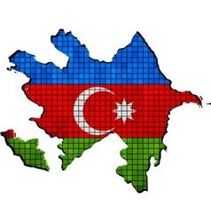 Azerbaijan map with flag inside vector