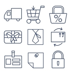 Set of line icons for shopping e-commerce vector