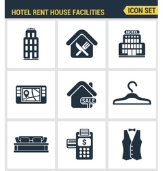 Icons set premium quality of hotel service vector