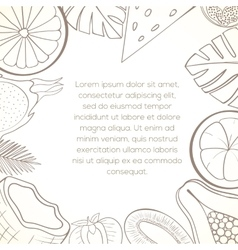 Exotic fruit invitation card vector