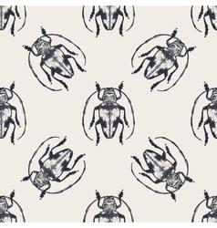 Beetles vintage seamless pattern vector image vector image