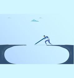 Businessman drawing bridge walking over cliff gap vector