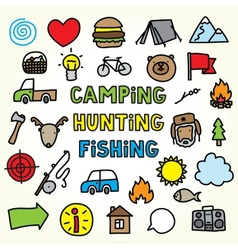 Cartoon camping icons vector
