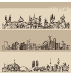City set prague toronto seattle vntage engraved vector