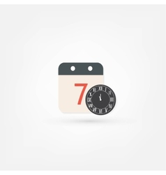 Clock and calendar icon vector