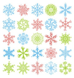 Color snowflakes over white backround vector