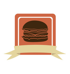 Colorful square frame with ribbon and burger vector