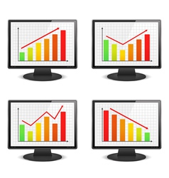 Computer monitors with graphs vector image vector image