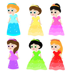 cute kawaii fairy tale princess in colorful vector image vector image