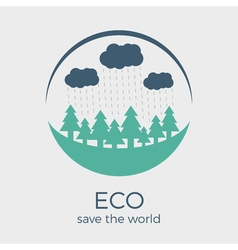 Eco style rounded flat logo design vector
